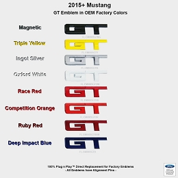 2015-2017 Mustang GT UPR Rear GT Colored Emblem Officially Ford Licensed