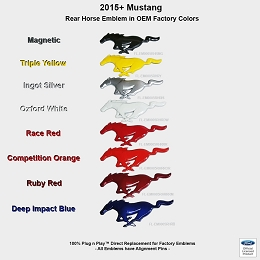 2015-2017 Mustang GT UPR Rear Colored Pony Emblem Officially Ford Licensed