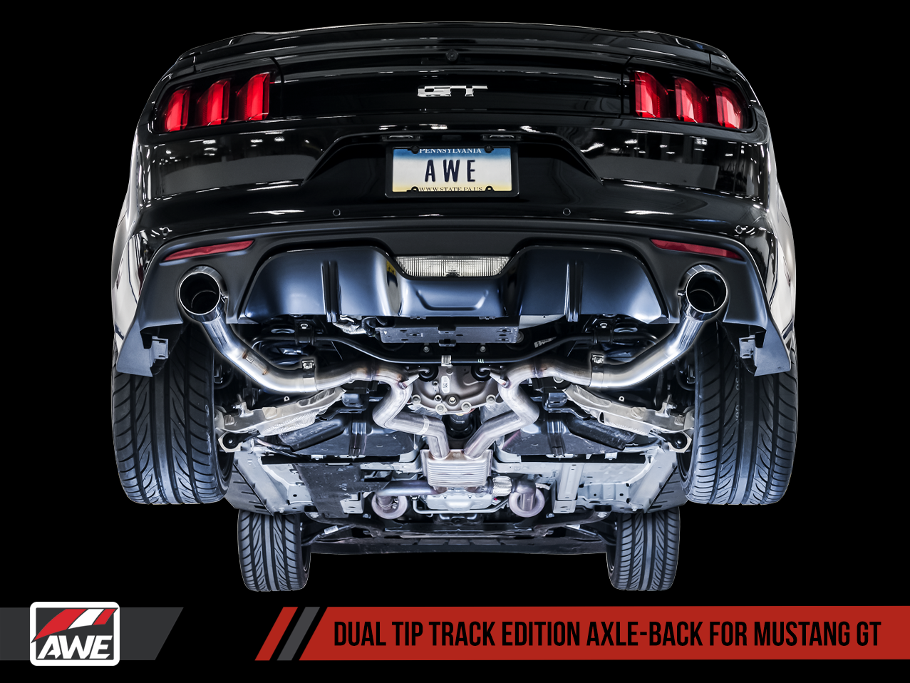AWE Tuning S550 Mustang GT Axle-back Exhaust - Track Edition (Chrome Silver Tips)
