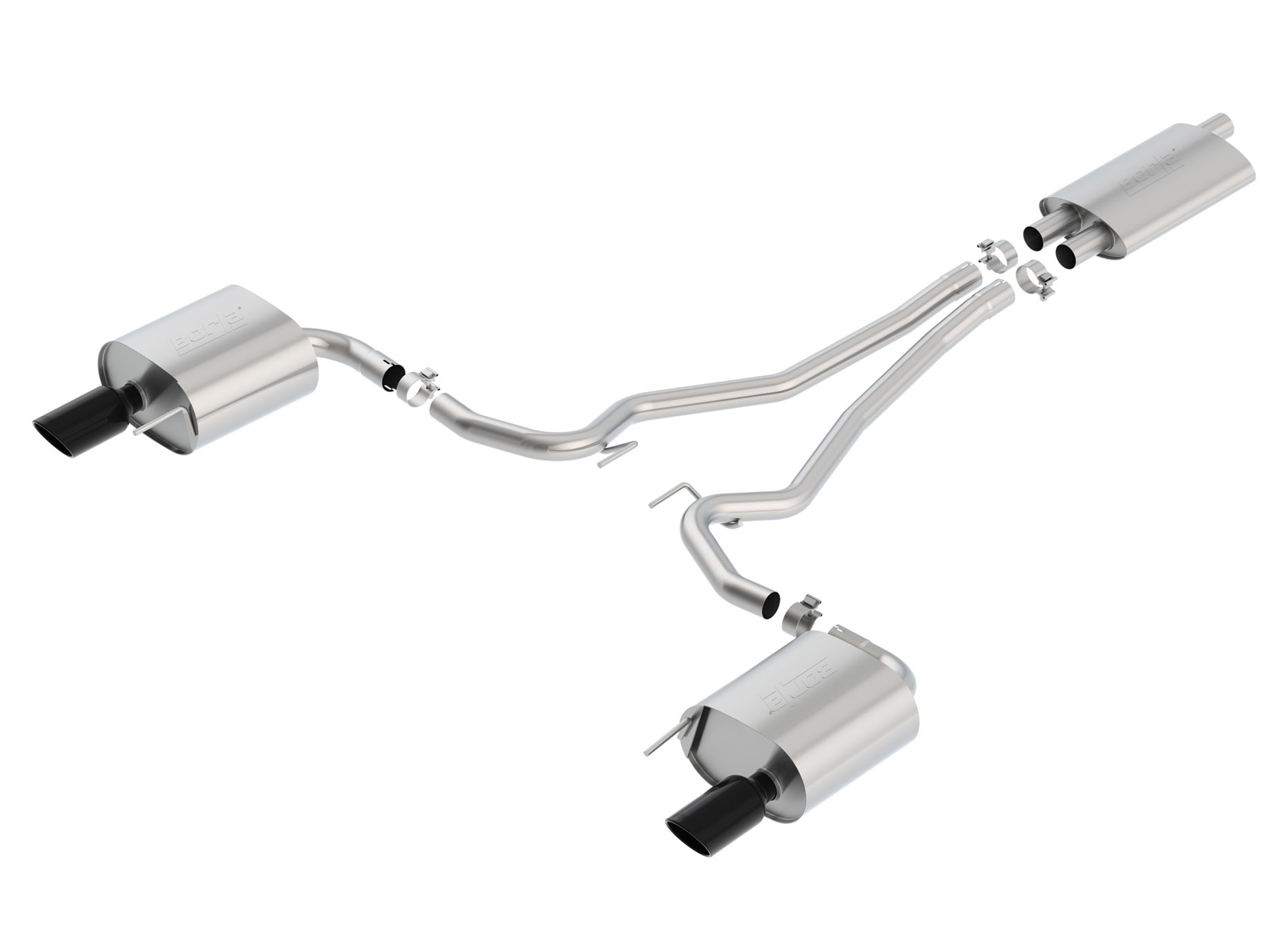 Borla 15-17 Ford Mustang EcoBoost 2.3L EC-Type Cat Back Single Round 4.0in OD 9.5in L Tips Exhaust