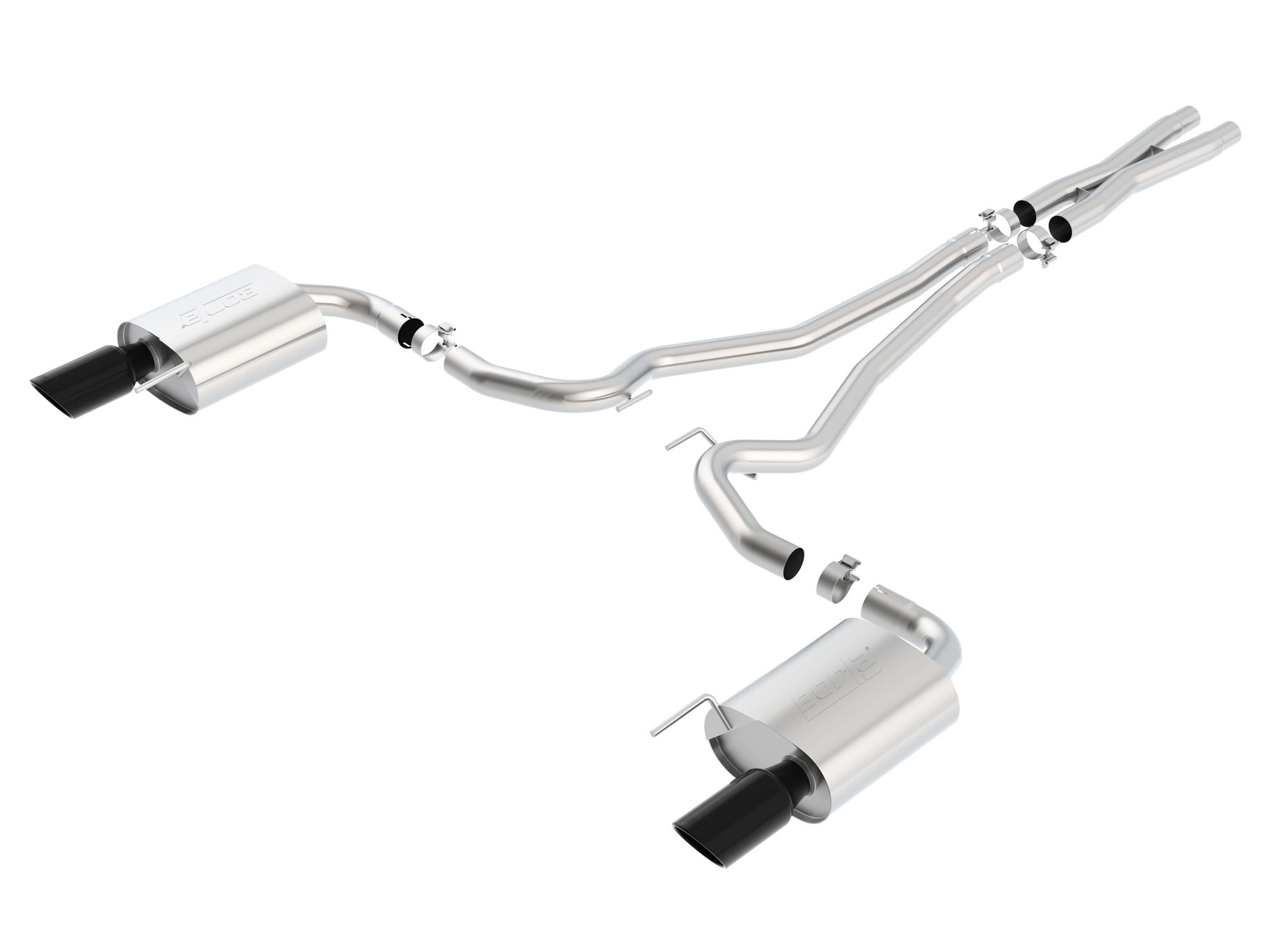 Borla S-Type Cat-Back 15-17 Ford Mustang GT 5.0L V8 MT/AT 2.5in pipe 4in tip (Black Chrome)