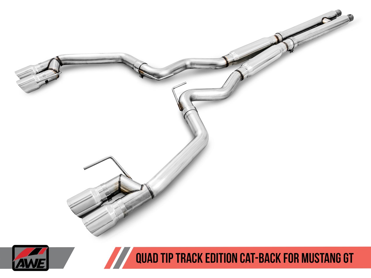 AWE Tuning S550 Mustang GT Cat-Back Exhaust - Track Edition - GT350 Valance (No Tips)