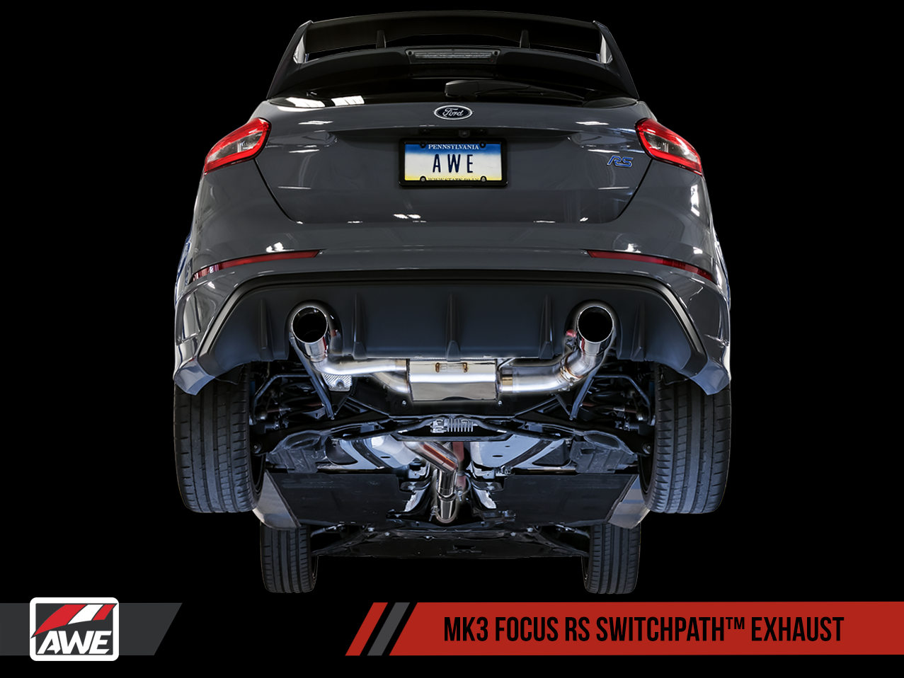 AWE Tuning Ford Focus RS SwitchPath Cat-back Exhaust - Chrome Silver Tips