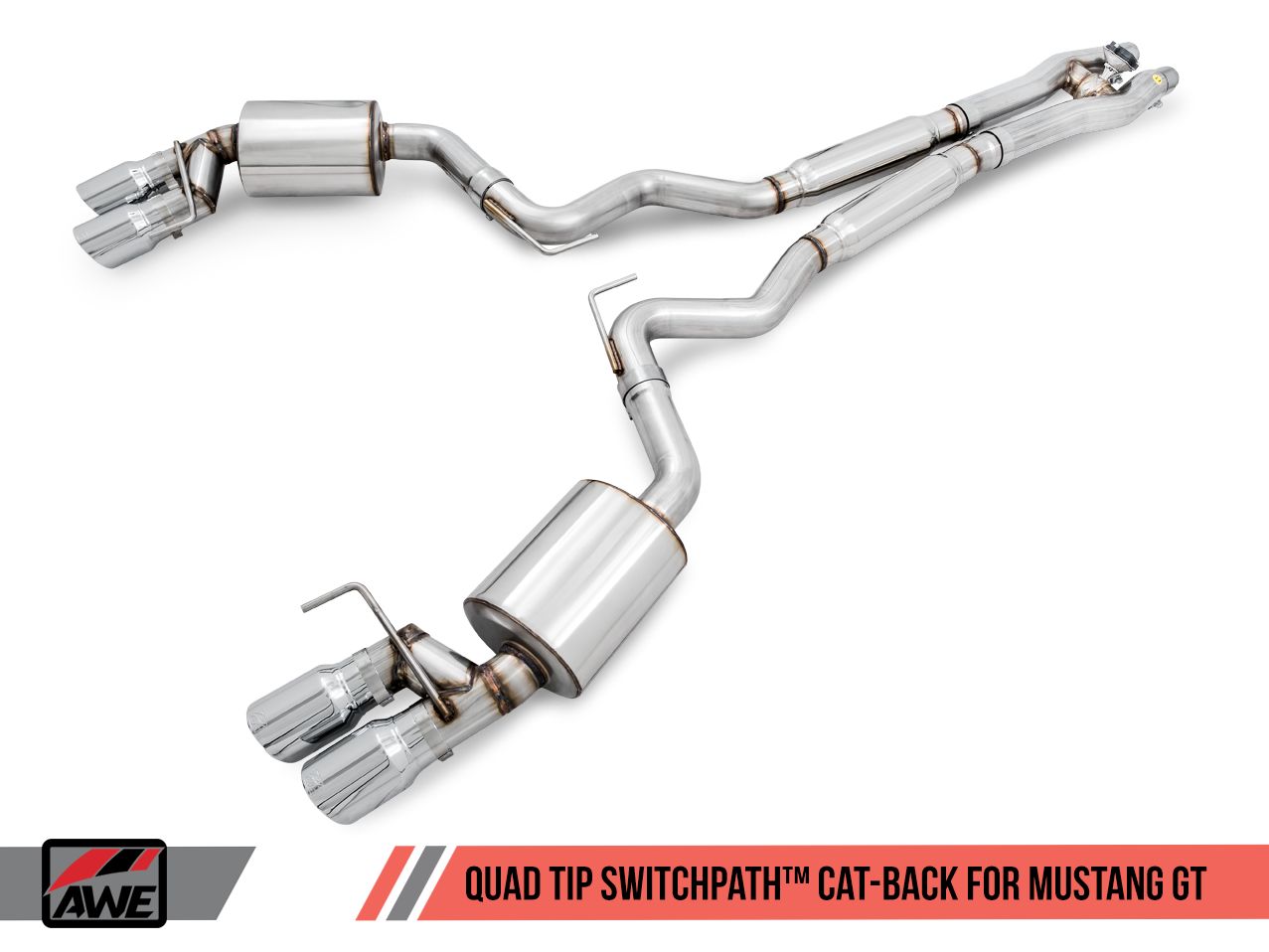 AWE Tuning S550 Mustang GT Cat-back Exhaust - SwitchPath - GT350 Valance (Chrome Silver Tips)
