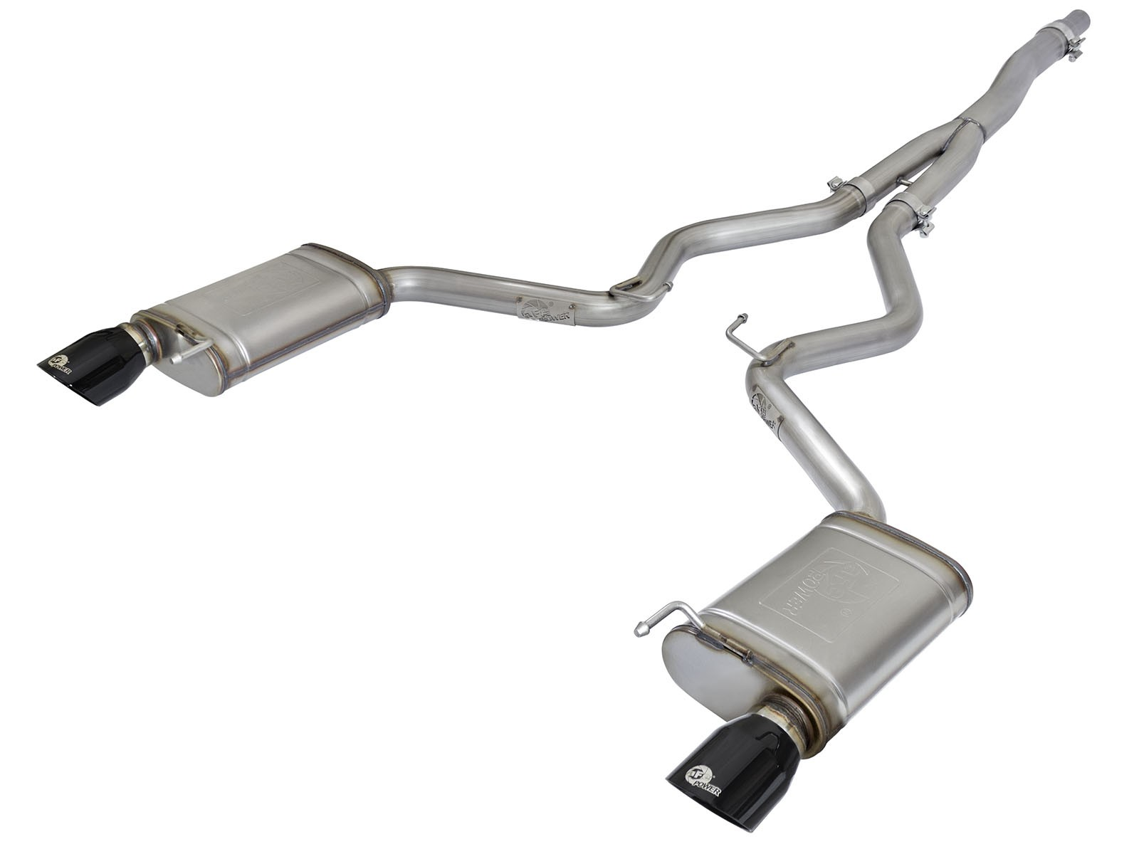 aFe MACHForce XP Exhausts Cat-Back SS-304 EXH w/ Black Tips 15-16 Ford Mustang EcoBoost 2.3L (t)