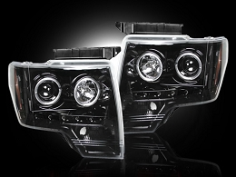 2009-2013 F150/Raptor Recon Smoked Projector Headlights w/ LED Halos