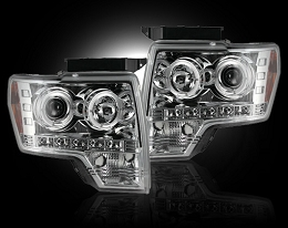 2009-2013 F150/Raptor Recon Clear Projector Headlights w/ LED Halos
