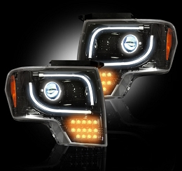 2013-2014 F150/Raptor Recon Smoked Projector Headlights w/LED Turn Signals(for OEM Projectors)