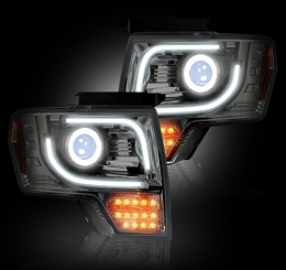 2013-2014 F150/Raptor Recon Clear Projector Headlights w/ LED Turn Signals(for OEM Projectors)