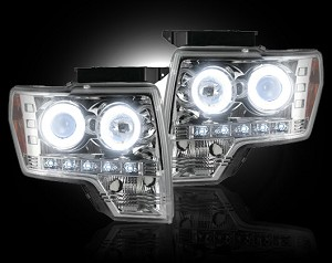 2009-2013 F150/Raptor Recon Clear Projector Headlights w/ CCFL Halos